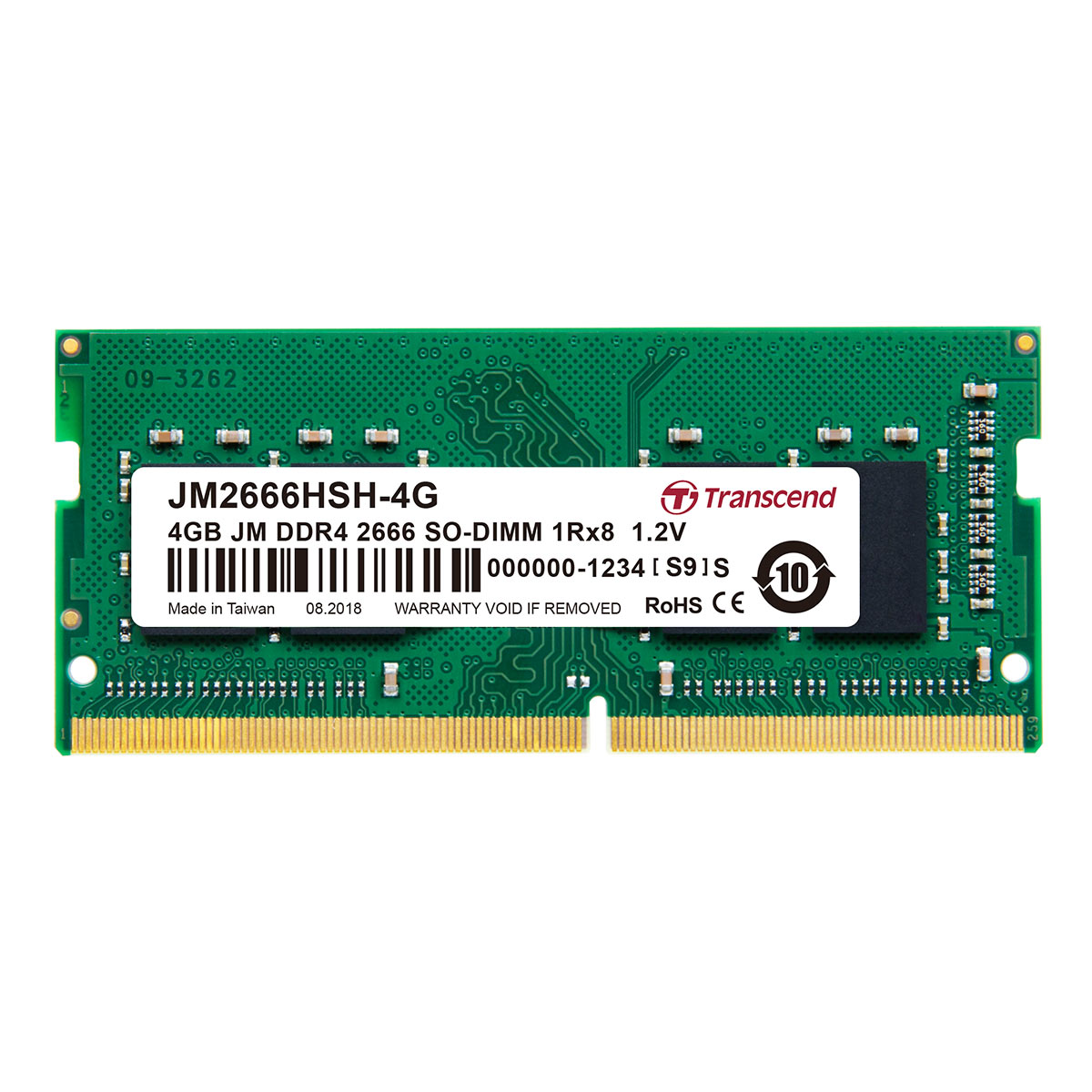 【4月25日値下げしました】Transcend 増設メモリー 4GB ノートPC用 DDR4-2666 PC4-21300 SO-DIMM PCメモリ メモリーモジュール ノートパソコン用[JM2666HSH-4G]【ネコポス専用】【送料無料】