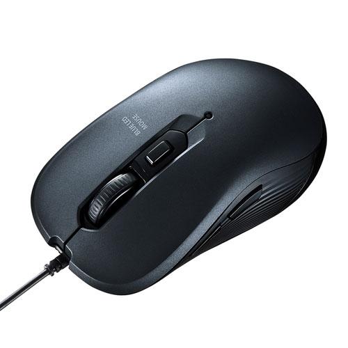 有線ブルーLEDマウス(5ボタン・ガンメタ)[MA-BL114GM]