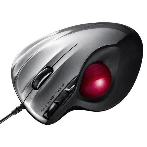 レーザートラックボールマウス(親指タイプ・有線・シルバー)[MA-TB44S]