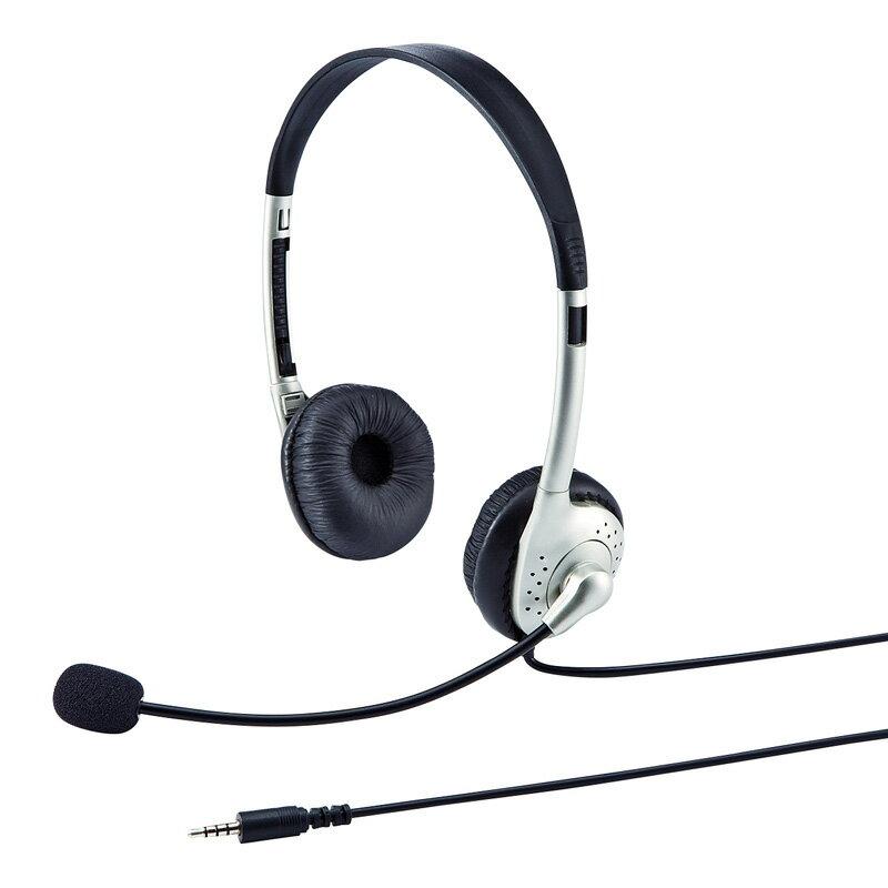 タブレット用ヘッドセット 両耳タイプ スカイプ(Skype)やメッセンジャーに最適なマイク付ヘッドホン ヘッドフォン [MM-HS525TABN]【サンワサプライ】