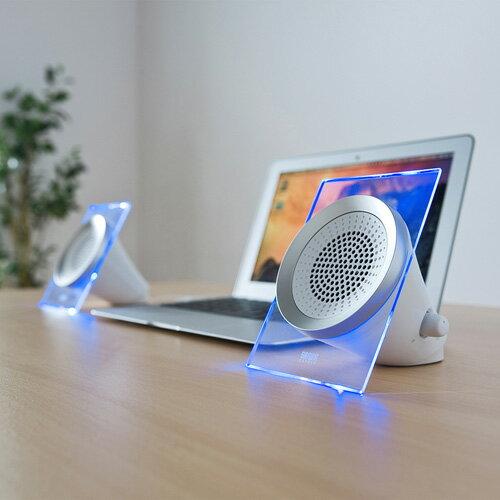 USB電源マルチメディアスピーカー LED搭載 高音質 [MM-SPL12UW]【サンワサプライ】