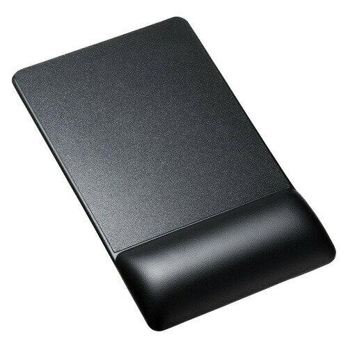 リストレスト付きマウスパッド(レザー調素材、高さ22.5mm、ブラック)[MPD-GELPHBK]