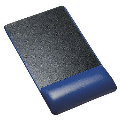リストレスト付きマウスパッド(レザー調素材、高さ22.5mm、ブルー)[MPD-GELPHBL]