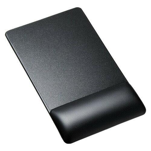 リストレスト付きマウスパッド(レザー調素材、高さ18.5mm、ブラック)[MPD-GELPNBK]