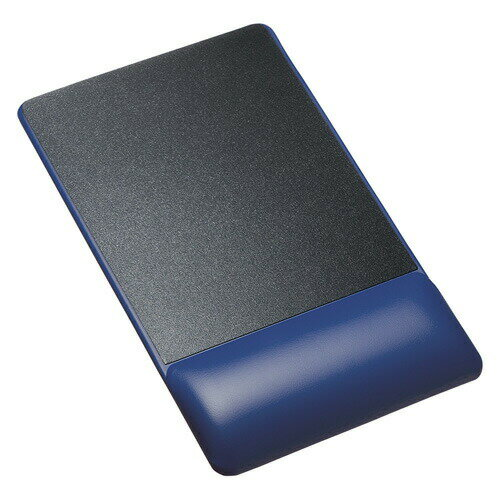 リストレスト付きマウスパッド(レザー調素材、高さ18.5mm、ブルー)[MPD-GELPNBL]