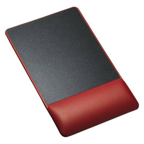 リストレスト付きマウスパッド(レザー調素材、高さ18.5mm、レッド)[MPD-GELPNR]