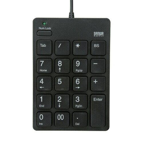 テンキー TABキー付 ブラック アイソレーションタイプ 薄型メンブレンキー USBテンキー [NT-18UBK]【サンワサプライ】