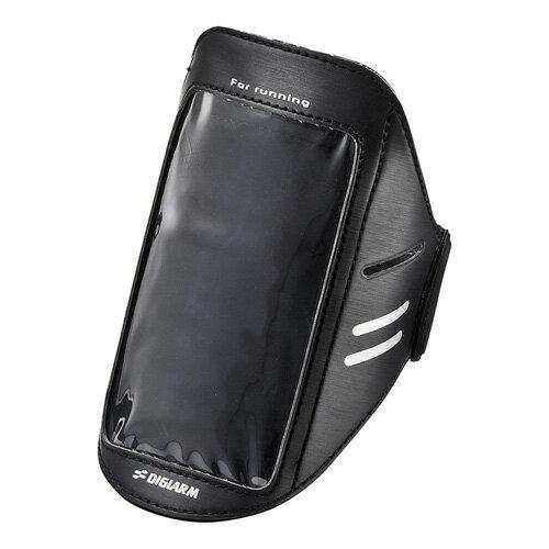 アームバンド スマホケース ブラック Lサイズ スポーツケース スマートフォンケース スポーツ ランニング ジョギング ウォーキングに最適 iPhone8対応 [PDA-MP3C11BK]【サンワサプライ】