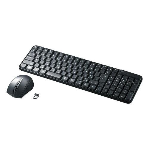 マウス付きワイヤレスキーボード(静音ブルーLEDマウス・ブラック)[SKB-WL25SETBK]【送料無料】