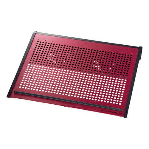 ノートPCクーラー ノートパソコン冷却 16型ワイドまで対応 レッド 放熱アルミ ファン位置移動可能 ノートクーラー 熱対策 [TK-CLN16U3RN]【サンワサプライ】【送料無料】