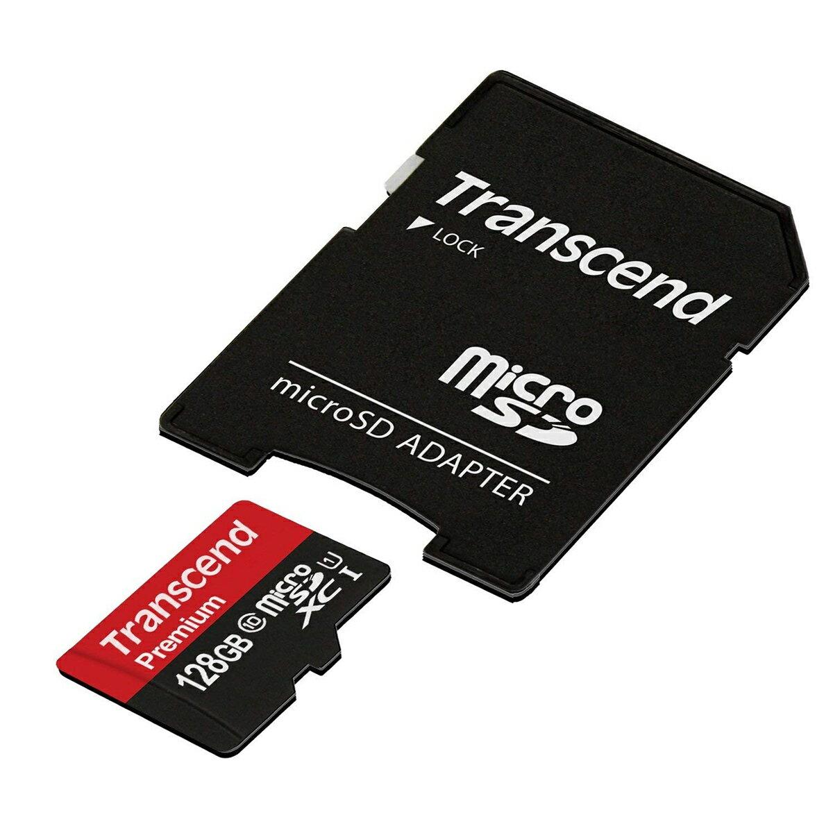【2月15日値下げしました】【ネコポス専用】Transcend microSDカード 128GB Class10 UHS-1 永久保証 マイクロSD microSDXC SDアダプタ付 最大転送速度60MB/s 400x クラス10[TS128GUSDU1]【送料無料】