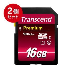 【まとめ割 2個セット】Transcend SDカード 16GB Class10 UHS-I Premium 5年保証 メモリーカード クラス10 入学 卒業[TS16GSDU1]【ネコポス対応】【楽天BOX受取対象商品】