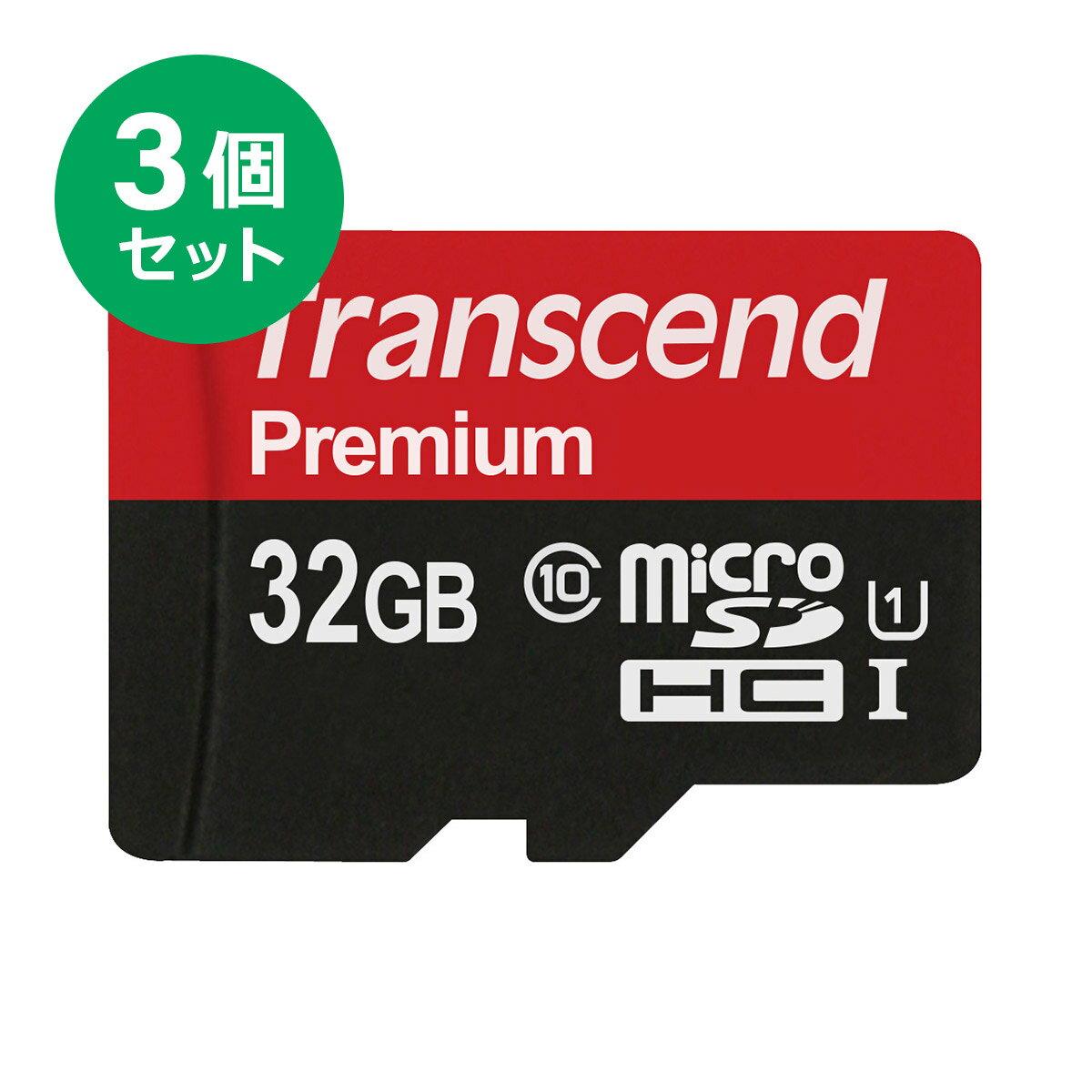 【まとめ割 3個セット】Transcend microSDカード 32GB Class10 UHS-I 5年保証 マイクロSD microSDHC 最大転送速度60MB/s クラス10 スマホ SD 入学 卒業[TS32GUSDCU1]【ネコポス対応】【楽天BOX受取対象商品】