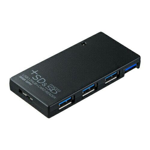 USBハブ 3ポート USB3.0 カードリーダー付き SDカード、microSD(マイクロSD)カード対応 ブラック [USB-HCS315BK]【サンワサプライ】【送料無料】