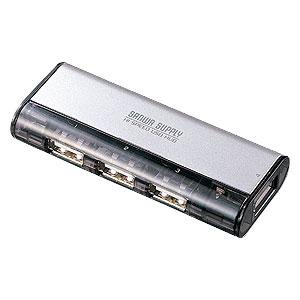 USBハブ 4ポート マグネット付 シルバー ACアダプタ付 セルフパワー対応 USBポート増設 USBメモリ・マウス・キーボード・プリンターなどの接続に [USB-HUB225GSV]【サンワサプライ】【送料無料】