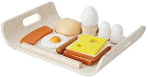 PLANTOYS 3415 朝食メニューデザインと品質に優れた 環境に優しい 木のおもちゃ食パン2枚、ロールパン、目玉焼き、塩・胡椒nなどとトレイが付いた朝食のセット商品サイズ:18.0×25.5×5.0cm(トレ