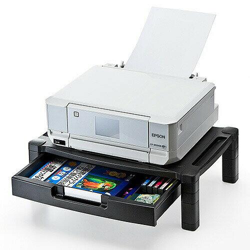 【送料無料】プリンター台 卓上 引出し付 机上台 プリンタの下に用紙やインクを収納可 ブラック[100-PS002]