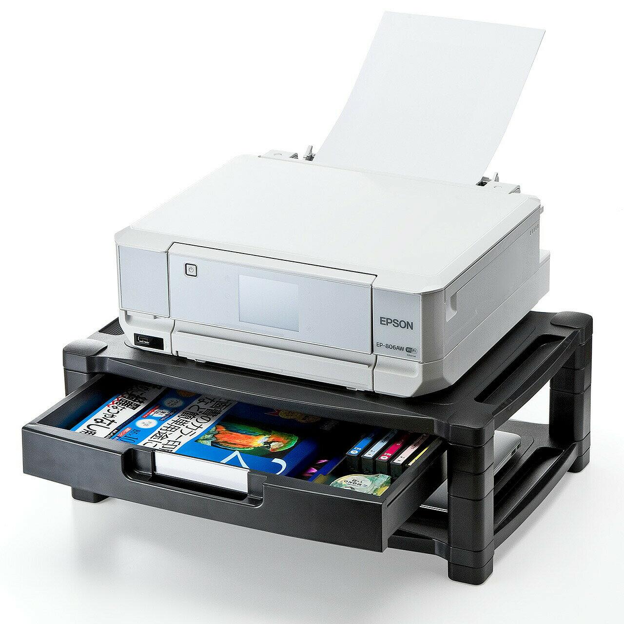 【送料無料】プリンター台 卓上 引出し&棚付 机上台 プリンタの下に用紙やインクを収納可 ブラック[100-PS003]