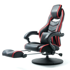 オットマン内蔵 ゲーミング座椅子 160度 リクライニング ハイバック PUレザー生地 回転 座椅子 耐荷重100kg バケットシート型 [150-SNCF006]