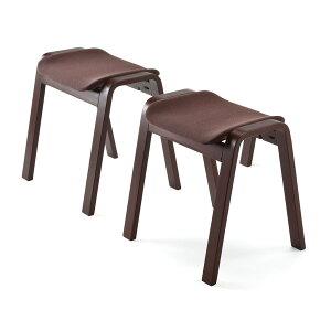 曲げ木 スタッキングスツール 2脚セット オットマン 踏み台 積み重ね 木製 スツール 椅子[150-SNCH009]