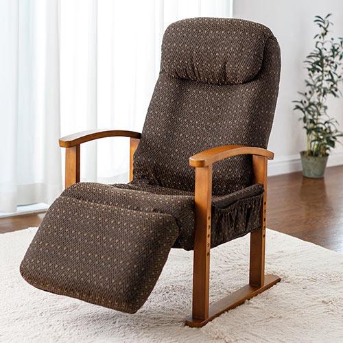 オットマン内蔵 高座椅子 8段階 レバー式 リクライニング 小物ポケット付き ブラウン [150-SNCH025]