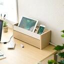 【送料無料】ケーブルボックス タップ収納ボックス スマホスタンド機能 充電ステーション 木目柄 テーブルタップボッ…