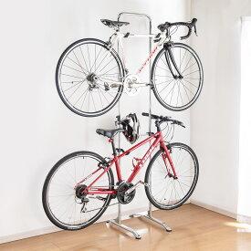 自転車スタンド 2台掛け ホーム バイクラック 自立式 ディスプレイスタンド 屋内用 [800-BYST6]