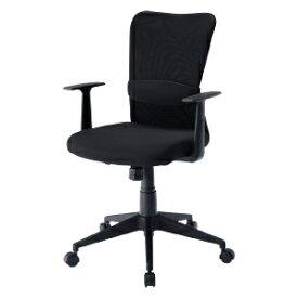 メッシュチェア アームレスト付き ブラック ロッキング パソコンチェア オフィスチェア 椅子 [SNC-NET14ABK]