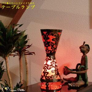 デスクランプ デスクライト フロアライト フロアスタンド アイアン 鼓 赤 ムードライト 寝室照明 間接照明 照明 リビング 玄関 アジアンテイスト ハンドメイド 手作り バリ