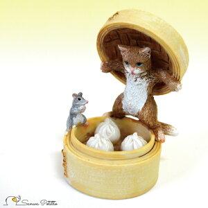 茶トラ猫 ねこ ネコ レトロ アンティーク風 中華 肉まん 猫とネズミ 置物 オブジェ プレゼント ギフト かわいい ミニチュア EV14775A 高さ約7.5cm ミニチュアアニマル