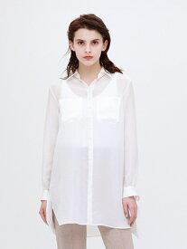 [Rakuten Fashion]【SALE/50%OFF】シアー ロングシャツ LOVELESS ラブレス シャツ/ブラウス 長袖シャツ ホワイト ネイビー【RBA_E】【送料無料】