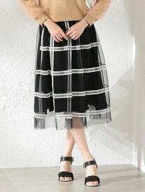 [Rakuten Fashion]【SALE/55%OFF】【LOVELESS】WOMENCreativelineチュールチェックスカート LOVELESS ラブレス スカート ロングスカート ブラック ネイビー【RBA_E】【送料無料】