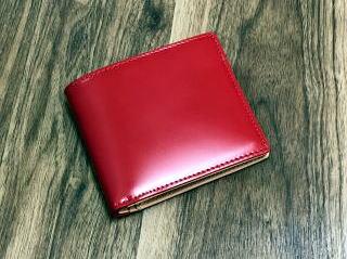【SaintModeCORDOVAN】新喜皮革財布【二つ折財布】コードバン(馬尻革)×本ヌメ革カード札入れ二つ折財布(小銭入れ無し)