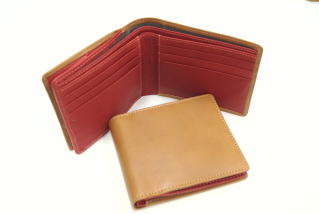 【二つ折財布】ビゾンテ(フルタンニンオイルヌメ革)×バレンシア(オイルシュリンク革)外側BOX型小銭入れ付二つ折り財布10P03Dec16