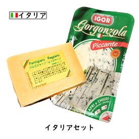 [あす楽]にこにこ イタリアチーズセット 【パルミジャーノ・レッジャーノ 200g ・ゴルゴンゾーラ 160g】(総重量360g以上お届け) (Parmigiano Reggiano)(Gorgonzola【DOP】【各国のチーズ2個セット】