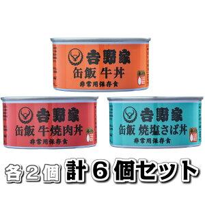 吉野家 缶飯 160g 各2個セット(牛丼、牛焼肉丼、塩さば丼)計6個