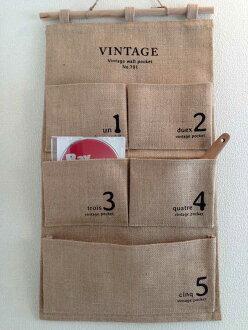 牆上的口袋裡天然材料信資料夾牆口袋自然數 5 便士