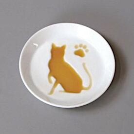 絵柄が浮き上がるお醤油皿 白磁 白い食器 ねこ 猫 キャット 日本製 美濃焼 おしゃれ お取り寄せ商品