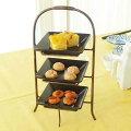 プチオードブル3段セット黒角皿と金具/アフタヌーンティー/お茶/お取り寄せ商品