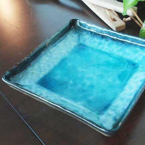 (欠品中 次回2月中旬頃入荷予定)和の器 和食器 流泉ブルー 均窯トルコブルー 正角深皿  モダン 美濃焼 日本製 食器 おしゃれ お取り寄せ
