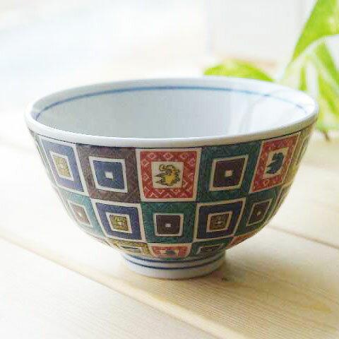 九谷焼 青郊窯 古九谷色絵 石畳文 ご飯茶碗 ごはん 飯碗 和食器 日本製 食器 おしゃれ お取り寄せ商品