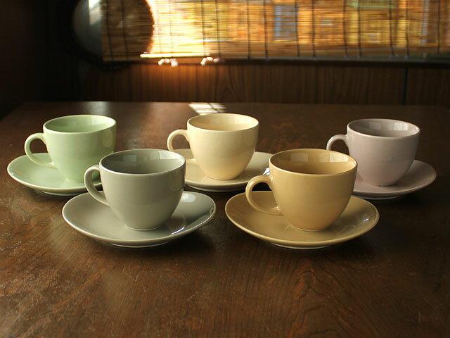 なごみカラーのカップ&ソーサー(5色選択)※訳あり(色ムラ・濃淡、ピンホール)