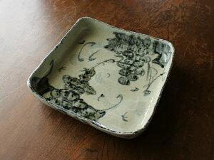 【アウトレット】《手造り》手描き古染ぶどう四角大鉢 24cm