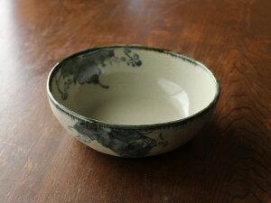 【アウトレット】《土物》手描きぶどう楕円深鉢 [17.5cm×15cm×h6cm]