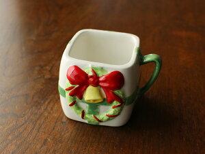 【アウトレット】クリスマスリースと緑リボンの手付きスクエアミニカップ