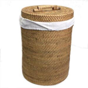 ランドリーバスケット ラタン 円柱形 もち手 蓋付き 特大サイズ【送料無料】洗濯物 タオル収納 おもちゃ入れ