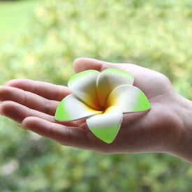 シンプルスポンジプルメリア(グリーン)【メール便OK】お部屋に飾るだけでアジアンリゾート。スポンジ素材でふんわり柔らか♪手の平サイズの可愛い造花、フランジパニ、フローティングフラワー