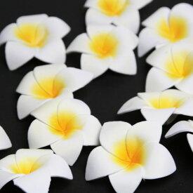 シンプルスポンジプルメリア Sサイズ ホワイト【メール便OK】アジアンリゾート スポンジ素材 ふんわり 手の平サイズ 可愛い造花 フランジパニ フローティングフラワー