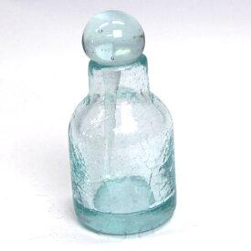 オイルボトル 円柱 ヒビ加工【メール便不可】アジアン スパ用品 アロマオイルボトル 手作り 気泡 スパボトル バリガラス
