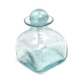 オイルボトル 四角 背が低いタイプ ヒビ加工【メール便不可】アジアン スパ用品 アロマオイルボトル 手作り 気泡 スパボトル バリガラス